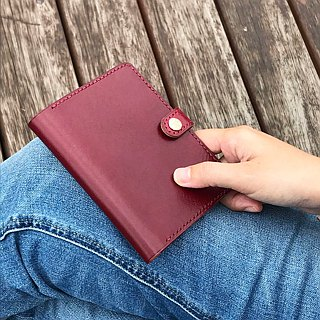 Toscana leather passport holder wine red / custom gift travel