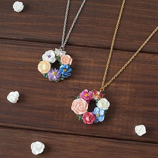 Mini Flower Wreath Necklace =Flower Piping= Customizable
