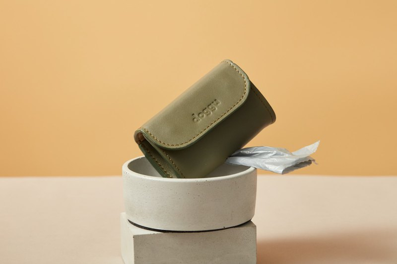 Waste Bag Carrier Doggu - Olive (green) leather