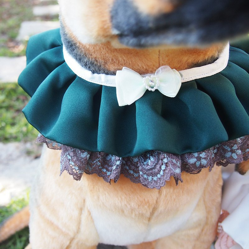 Married pet dog lace collar - dark green