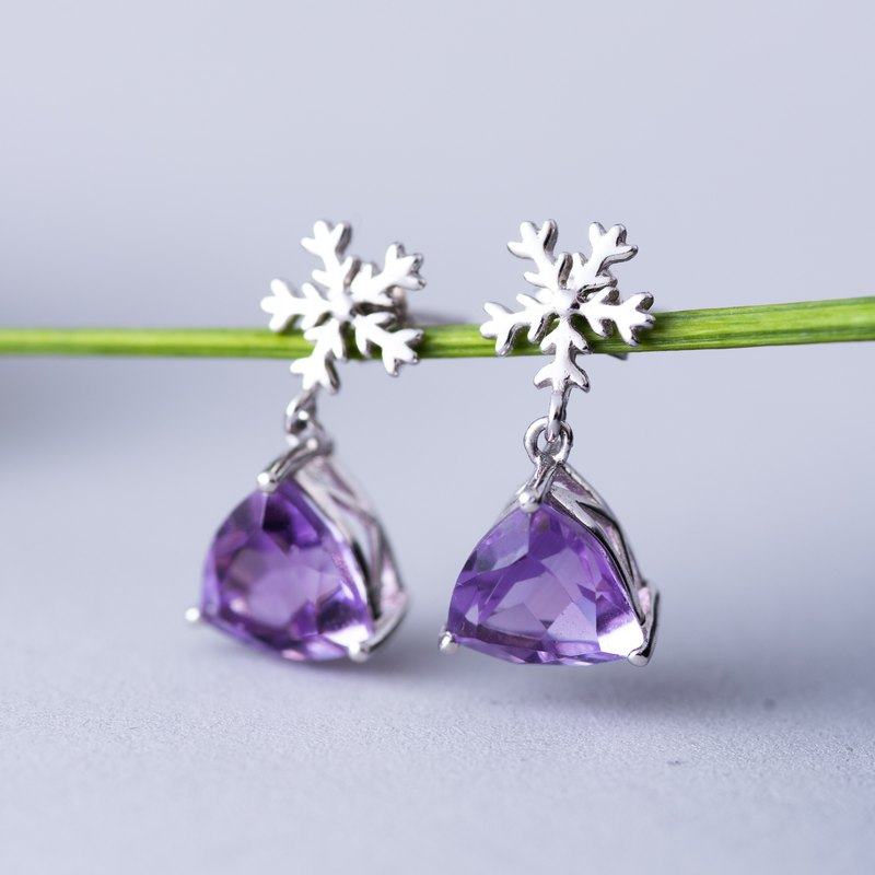 Amethyst, 925 Sterling Silver Natural Gemstone Crystal Earrings