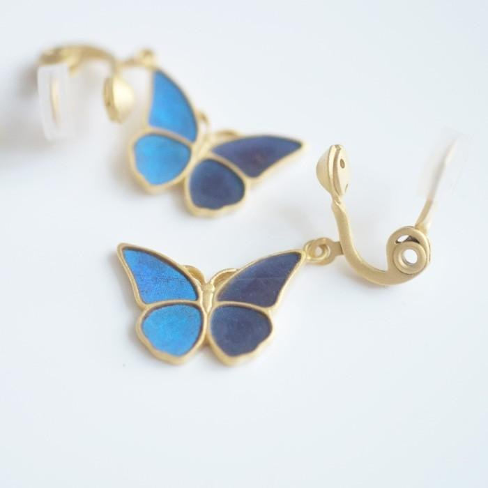 Morpho butterfly small antique earrings