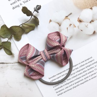 Striped 缇 flower ribbon bow hair bundle / powder