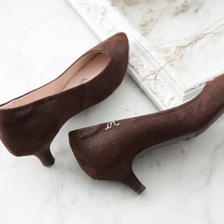 Athena-Caramel Macchiato - Fine velvet pointy leather low heel shoes (not sold out)