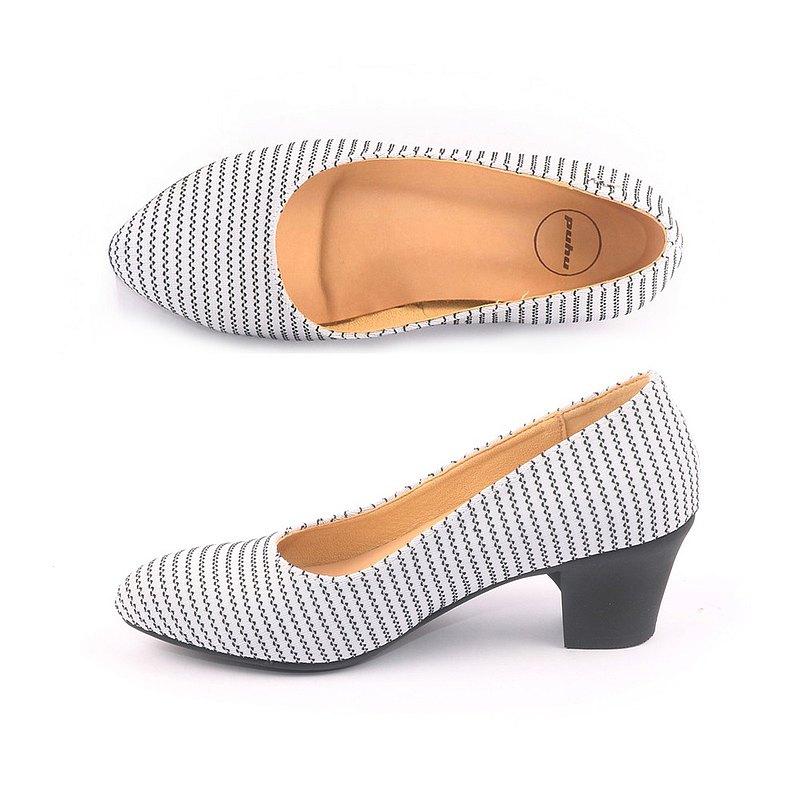 MIT【減壓穩足高跟鞋-白黑】條紋布 高跟鞋 粗跟 上班族 不脫膠