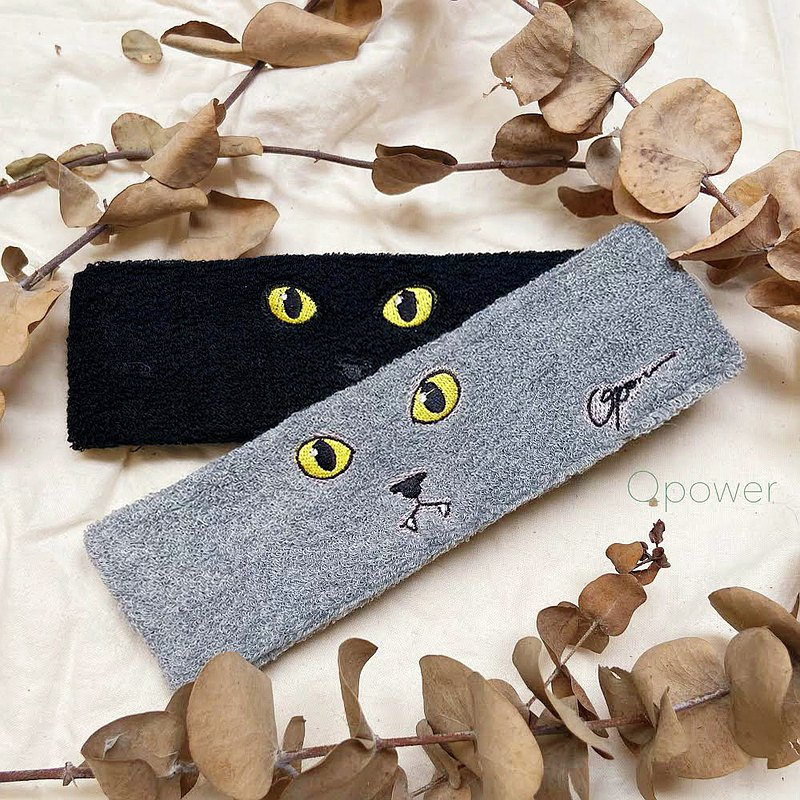 Christmas exchange gift cat series-embroidered cat towel sports headband-two colors (single)