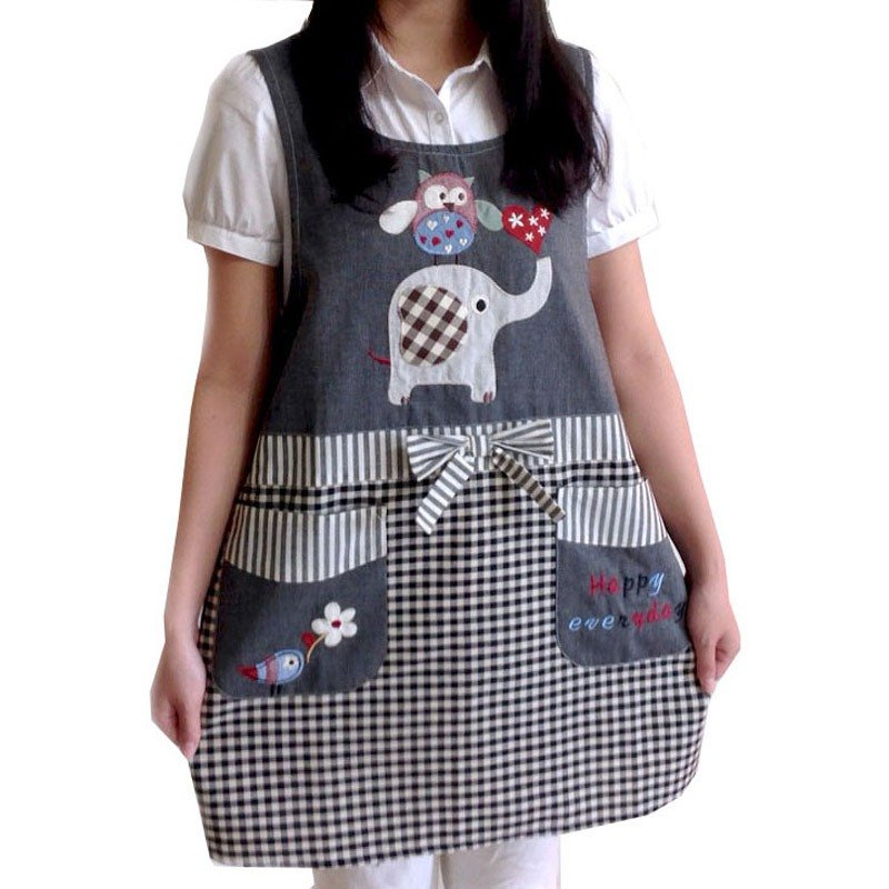 【BEAR BOY】 breeze double pocket apron - baby elephant and owl - iron ash