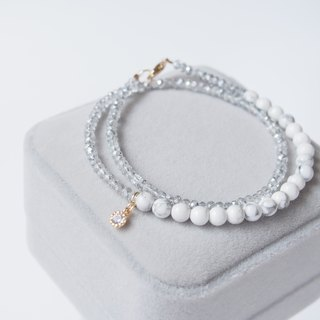 """KeepitPetite"" double-loop design, white turquoise beads section · · · the amphibole gilt bracelet bracelet"