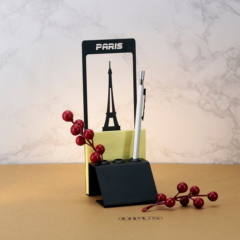 [OPUS Dongqi Metalworking] Paris Tower-Note Pen Holder (Black) / European Iron Art Urban Architecture Pen Holder