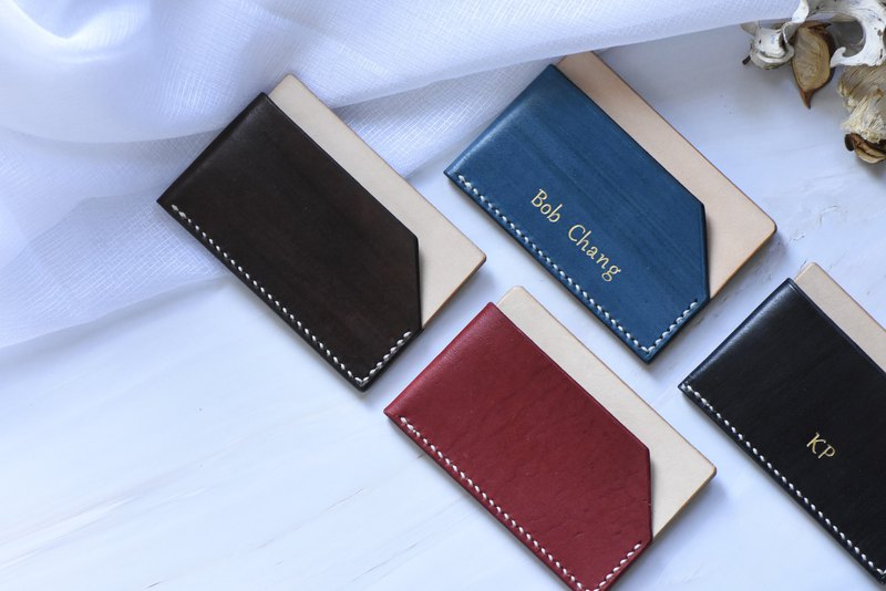 Leather hand made business card holder card holder vegetable tanned leather can be customized hot stamping blue