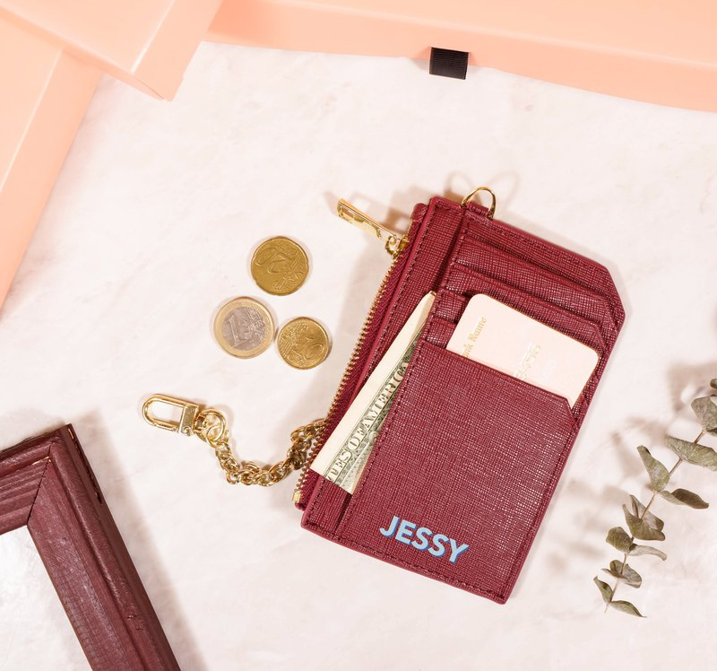 Hyyyla Crimson Leather Zip Coin Card Case [Customizable English name]