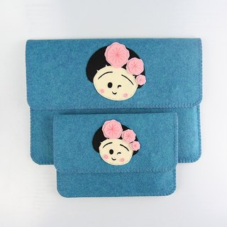 Custom - cute little girl Macbook Air | pro 11 \ 12 \ 13 \ 15 inch blanket cloth notebook computer bag + power package set