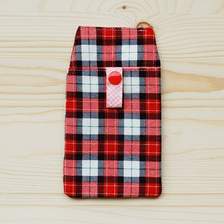Scottish plaid pocket pencil case _ red / attached bag