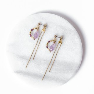 Find it / Gnahi - Amethyst Red Pomegranate Brass Earrings