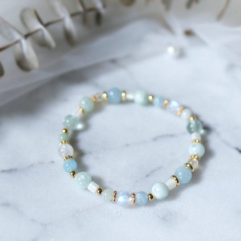 天然石系列肆 綠海紋石 海藍寶 螢石 月光石 黃水晶 手鍊