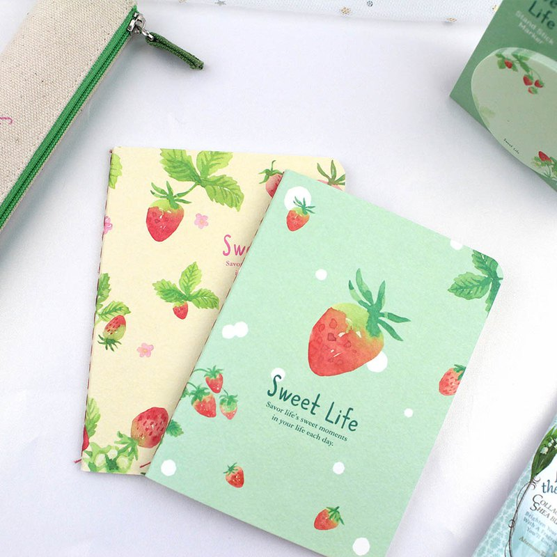 64K horizontal line fixed page notes / cotton line / rollover / strawberry notepad - 32 / raspberry good life