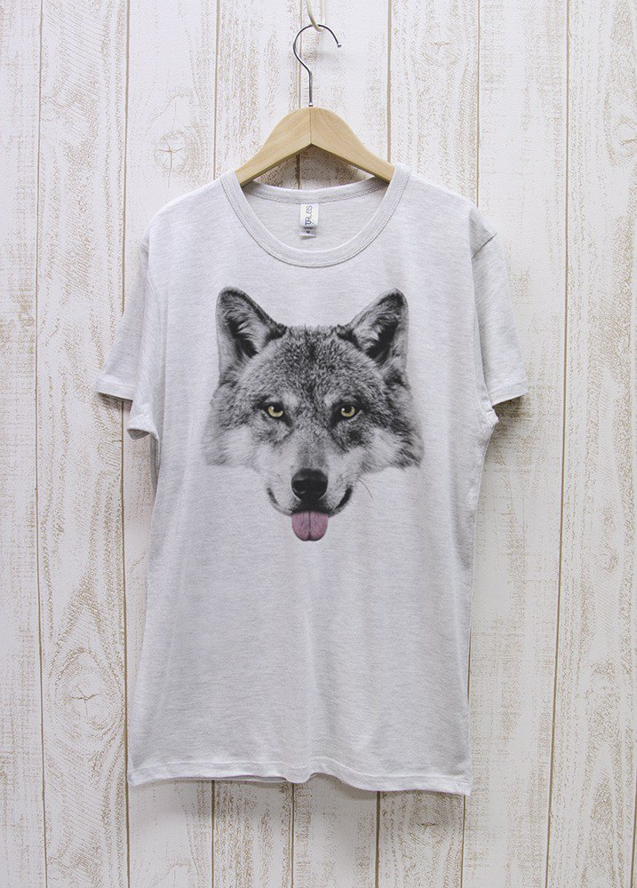 ronronWOLF Tee Beh Heather White / R022-TT-HWH