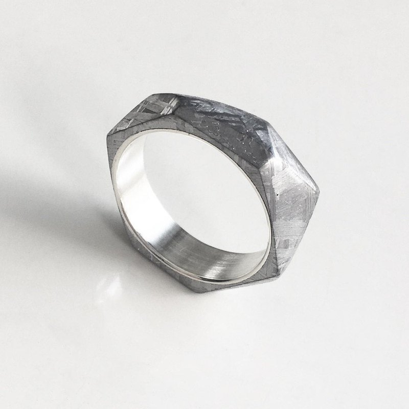 ASPECT Meteorite Band -  Faceted Angular Cut Meteorite Sterling Silver Ring
