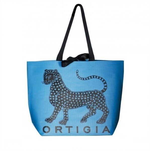 Eucalyptus Ortigia Tote blue classic leopard LOGO design black ribbon large capacity portable shopping bag