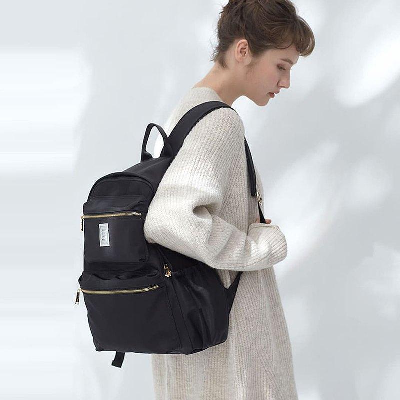 Sofia 防潑水尼龍 後背包 + 3號內袋【黑色】