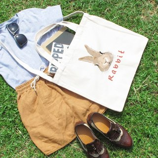 Small Meng rabbit Wen style wind horizontal canvas bag