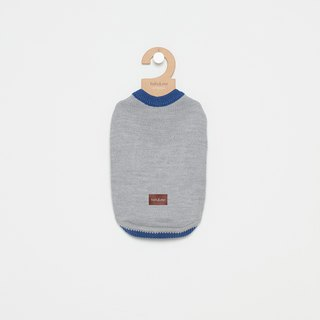 [Tail and me] pet clothes half open 襟 contrast color sweater gray