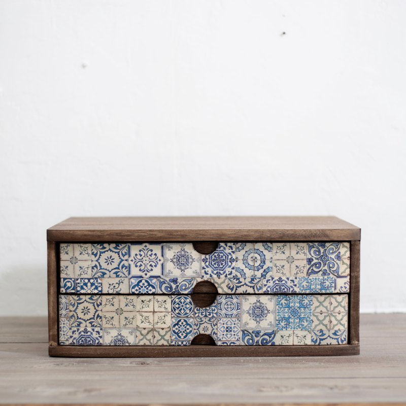 Amour love wood wood - retro nostalgic imitation tile table drawer storage cabinet