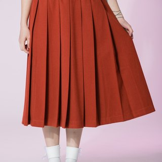 : In EMPHASIZE waist drawstring elastic waist sanded pleated skirt - orange