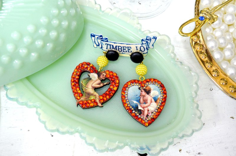 Vintage Cupid Little Angel Love Little Lovers Wood Chip Earrings Swarovski Crystals