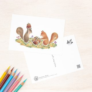 "4 pieces set. Like a picture book. Postcard ""Acorn and Squirrel"" PC-245"