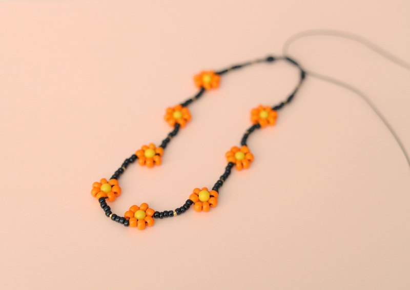 Orange Daisy Flower Beaded Choker / Necklace