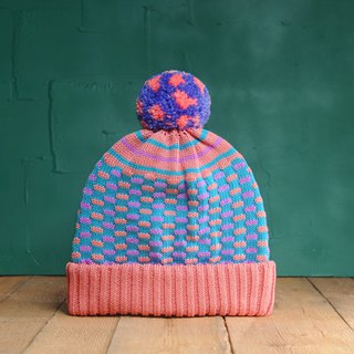 Salmon Circus Detachable PomPom Beanie Hat