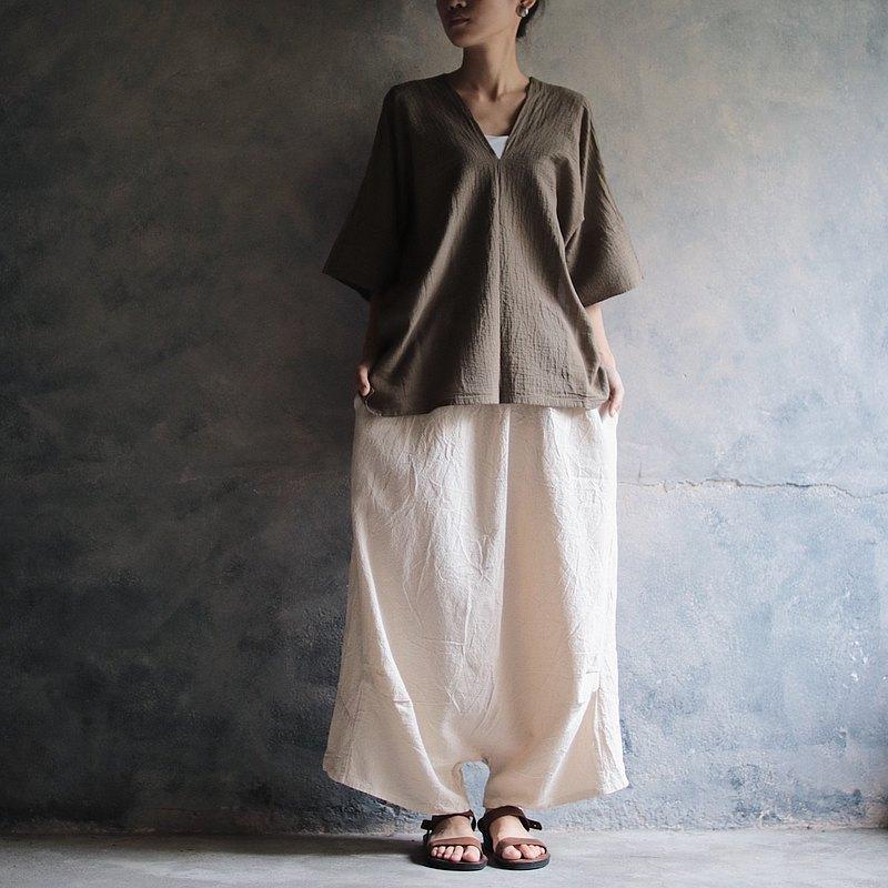 低檔棉麻寬褲  藍 / 米白