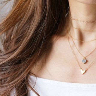 【Minimalism】 14 KGF Heart Chain Necklace--35/40/45 cm--