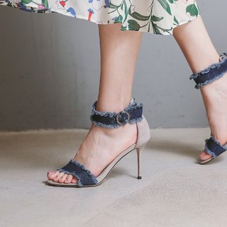 [Show products clear] 沁 cool around the blue denim leather stiletto sandals