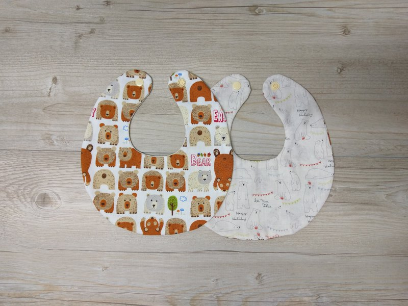 Handmade double-sided bib - small brown bear