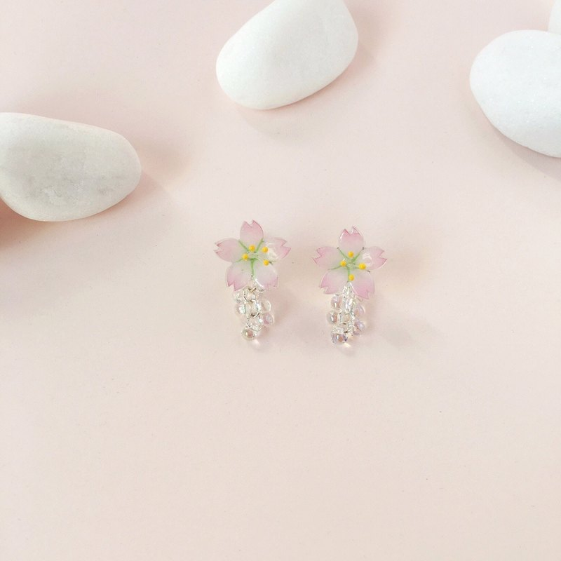 Sakura Limited Edition-Shiny Pink Cherry blossoms Flower Glass Earrings