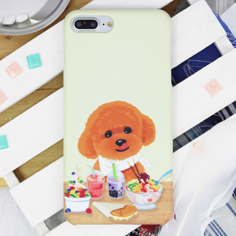 Toy Poodle Teatime Dog Matt hard phone Case iPhone X 8 plus 7 Samsung Note S8