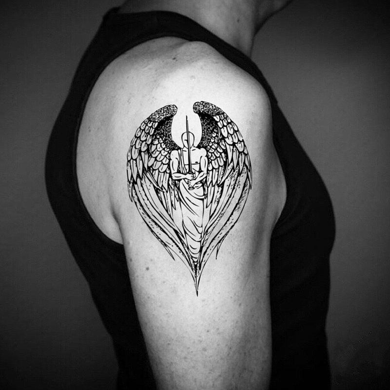 OhMyTat 守護天使 Guardian Angel 刺青圖案紋身貼紙 (2 張)