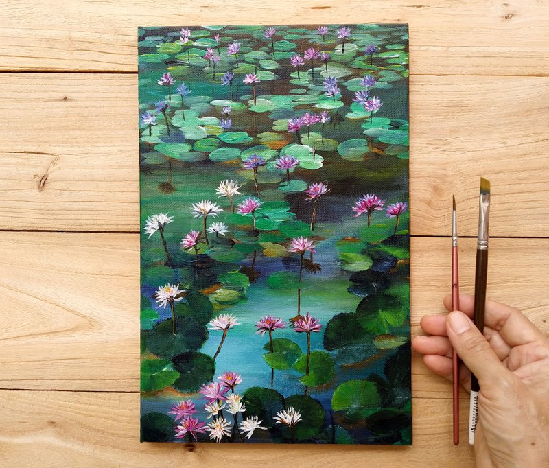 【Summer Water Lilies】Original Acrylic Painting. Lotus Lily Pond Flowers Bloom.