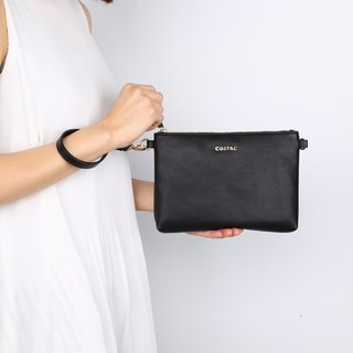 Portable Design Small Black Color PU Faux Leather Night Bag Zipper Bag