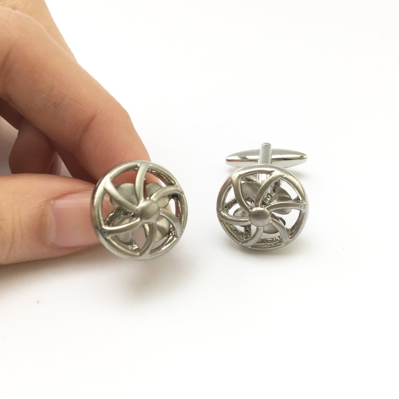 Retro Fan Cufflinks (Movies) Vintage Fans Cufflink (Movable Blade)