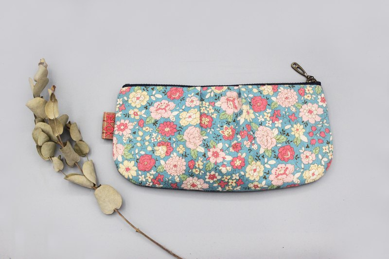 Peaceful universal bag - pink and blue floral, Japanese cotton and linen, double-sided two-color