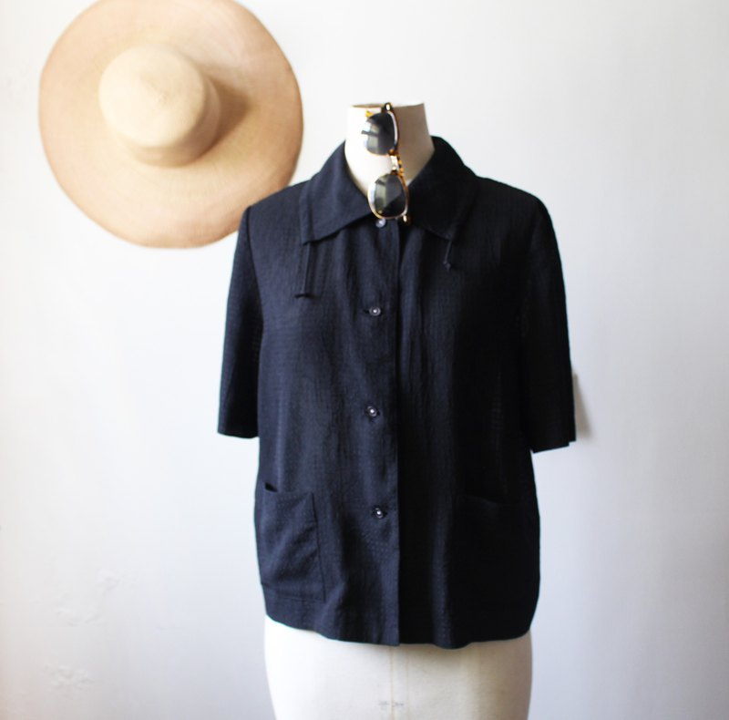 Black drawstring collar vintage shirt
