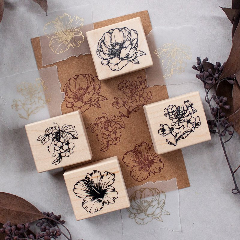 Cluster flower - Maple seal set - four into