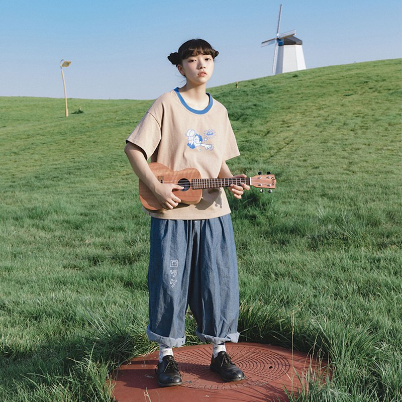Meugler Beef Crust Island * Ollie Frog Forest Band Falls Boy Khaki Contrast Couple Half Sleeve T-Shirt