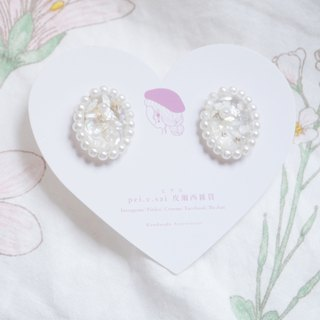 Pilsey 雑 ピアス - Sparkling Small Elliptical Earrings