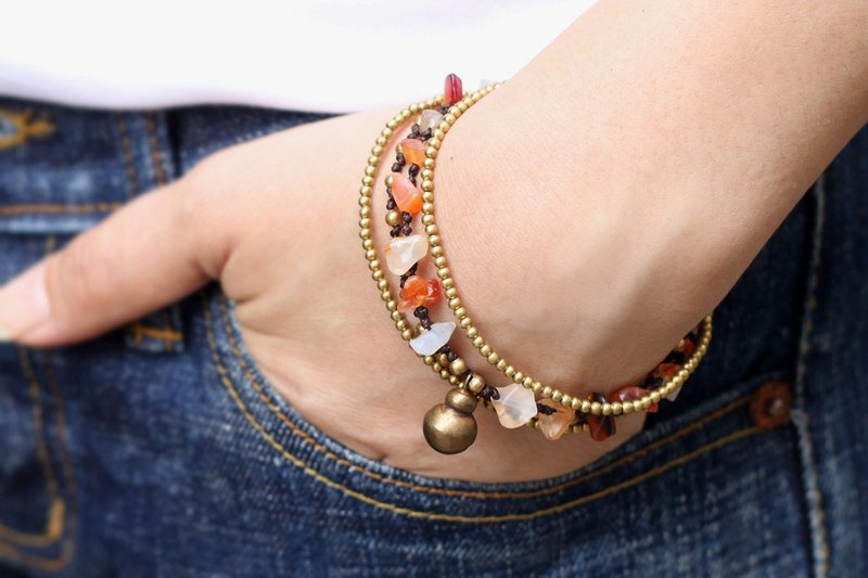 Carnelian Brass Chain bracelets Beaded Woven Layer Romantic Orange Stone