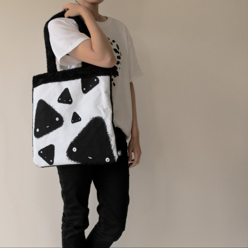 LU original fluffy and canvas tote bag (Triangle)