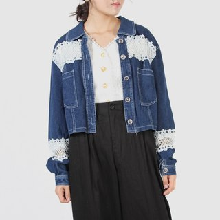 [Egg plant ancient] 12th house lace stitching vintage denim jacket